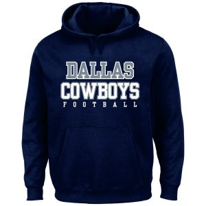 Men's Dallas Cowboys Majestic Navy Big & Tall Practice Pullover Hoodie
