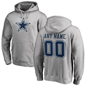 Men's Dallas Cowboys Ash Personalized Name & Number Logo Pullover Hoodie
