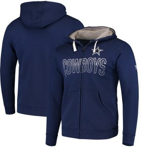 Men's Dallas Cowboys NFL Pro Line by Fanatics Branded Navy Iconic Fleece Full-Zip Hoodie