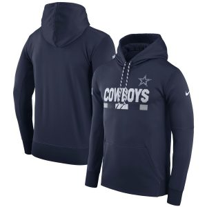 Men's Dallas Cowboys Nike Navy Sideline ThermaFit Performance PO Hoodie