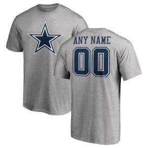 c9a8a6c2165 Men's Dallas Cowboys Ash Personalized Name & Number Logo T-Shirt