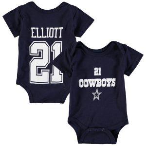 Newborn & Infant Dallas Cowboys Ezekiel Elliott Navy Player Name & Number Bodysuit
