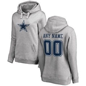 Women's Dallas Cowboy Ash Personalized Name & Number Logo Pullover Hoodie