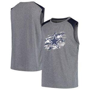 Youth Dallas Cowboys Heathered Gray True Colors Sleeveless T-Shirt