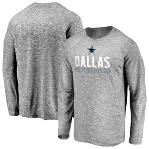 Men's Dallas Cowboys Majestic Gray Iconic Engage Stack Raglan Long Sleeve T-Shirt