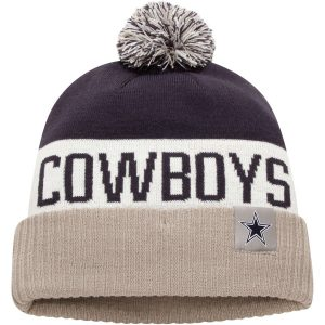 Men's Dallas Cowboys Nike Navy/Gray Stripe Cuffed Knit Hat with Pom
