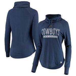 Women's Dallas Cowboys Navy Be a Pro Cowl Neck Raglan Pullover Sweatshirt