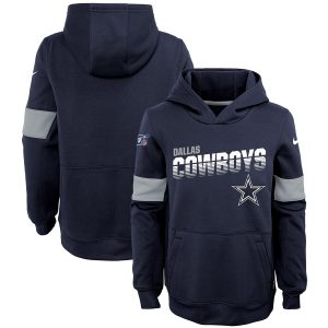 Youth Dallas Cowboys Nike Navy Team Performance Pullover Hoodie