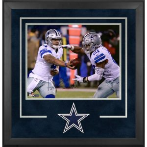 Ezekiel Elliott and Dak Prescott Dallas Cowboys Deluxe Framed Autographed Photograph