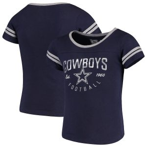 Girls Youth Dallas Cowboys Navy Live For It 2-Stripe T-Shirt