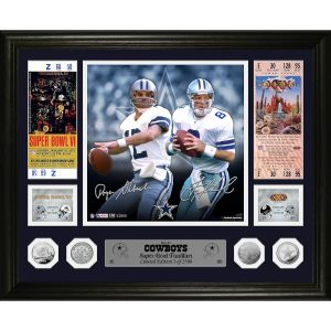 Roger Staubach & Troy Aikman Dallas Cowboys Super Bowl Traditions Bronze Coin Photo Mint