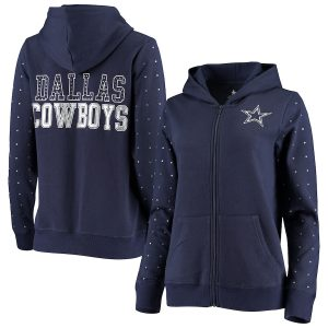 Dallas Cowboys Women's Beauvoir Rhinestone Full-Zip Hoodie