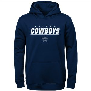 Dallas Cowboys Youth Navy Static Performance Pullover Hoodie
