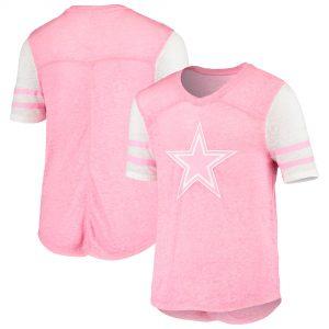 Girls Youth Dallas Cowboys Pink Team Spirit V-Neck T-Shirt